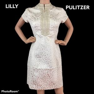 Lilly Pulitzer Adrena Gold Metalic Lagoon Jacquard
